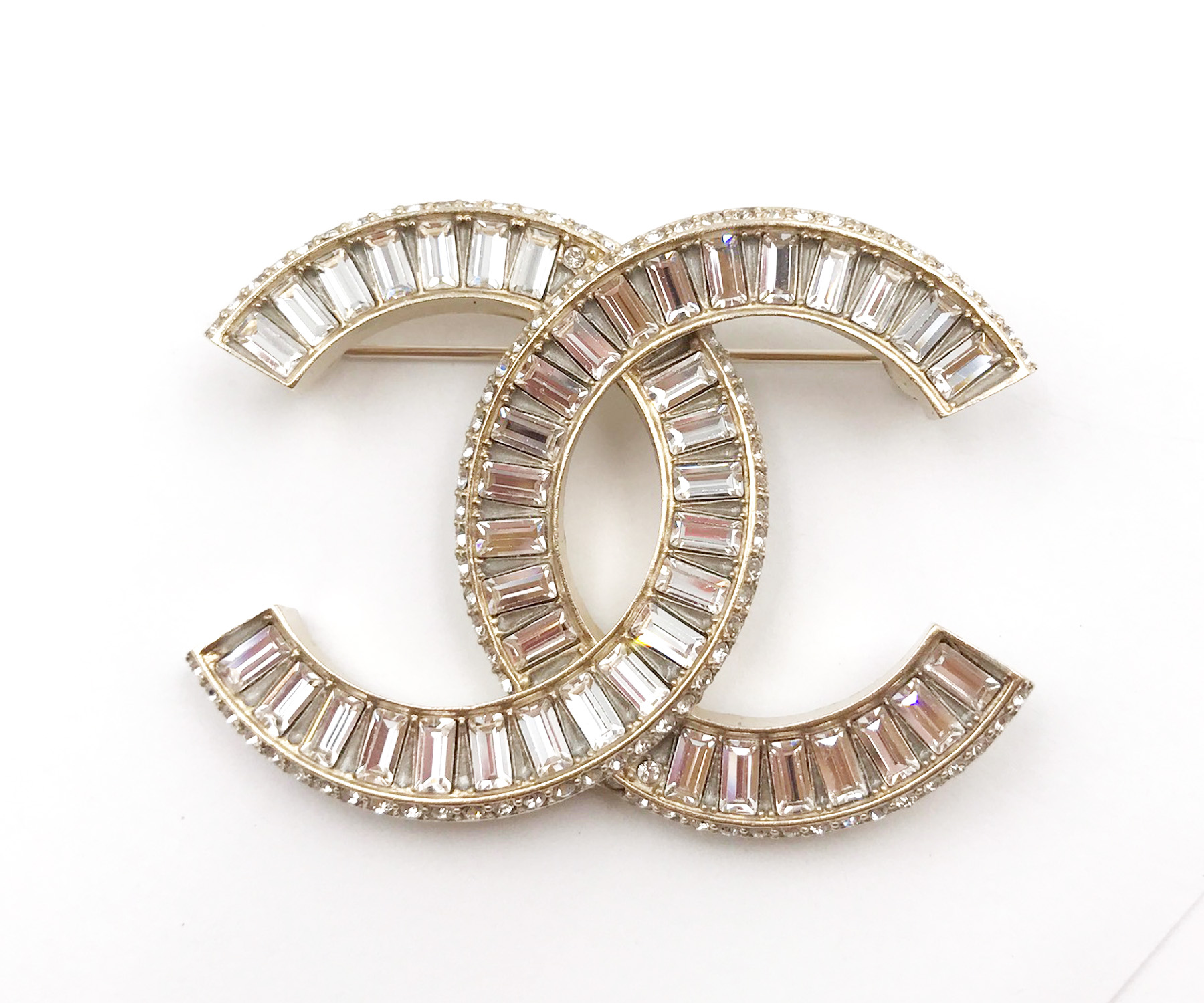 Chanel Brand New Gold Cc Silver Baguette Crystal Brooch