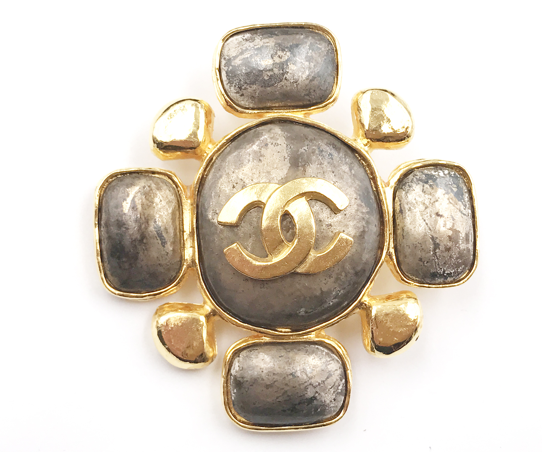 Vintage Chanel Gold Plated Cross Stone Large Brooch Lar