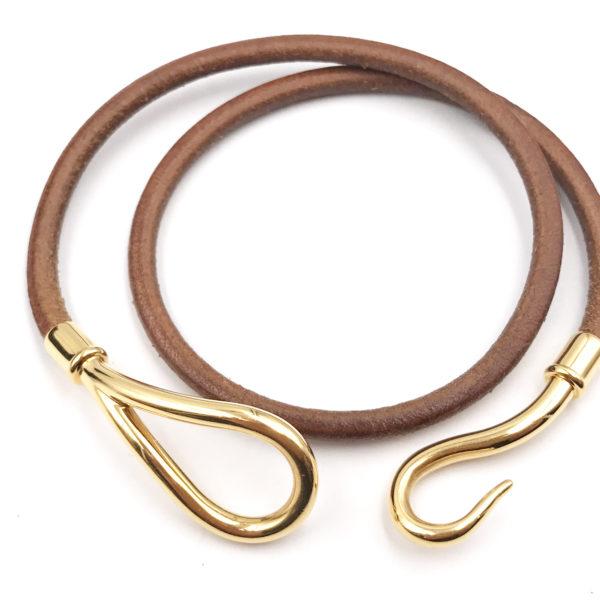 Hermes Hook 18k Gold Plated Palladium Leather Bracelet Choker