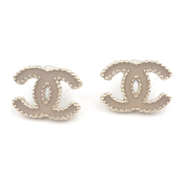 Chanel Baby Pink Enamel Cc Piercing Earrings