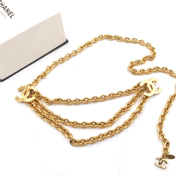 Chanel Vintage 24k Gold Plated Double Cc Multi Chain Belt