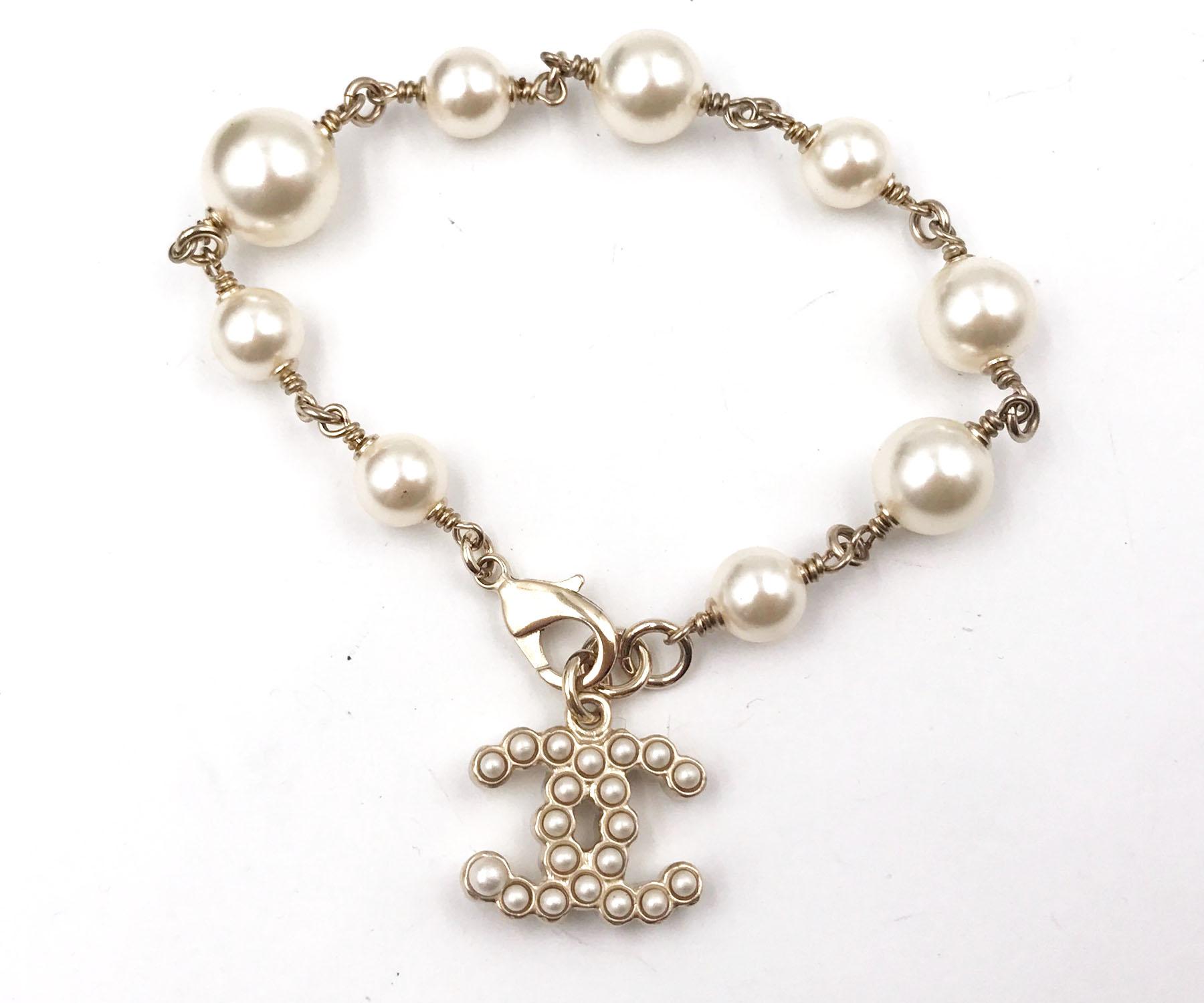 Chanel Gold CC Bubble Pearl Dangle Pearl Bracelet
