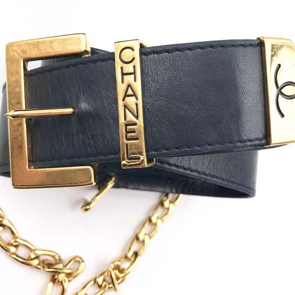 fc38c39d5855 Chanel Vintage Black Leather Gold Plated CC Dangle Belt - LAR Vintage