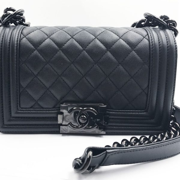 Chanel Brand New 17 So Black Caviar Small Le Boy Crossbody