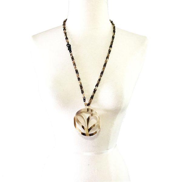 Hermes faux tortoise shell large pendant necklace lar vintage hermes faux tortoise shell large pendant necklace aloadofball Gallery