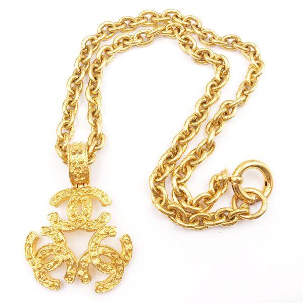 Chanel vintage 24k gold plated triple cc pendant long necklace chanel vintage 24k gold plated triple cc pendant mozeypictures Choice Image