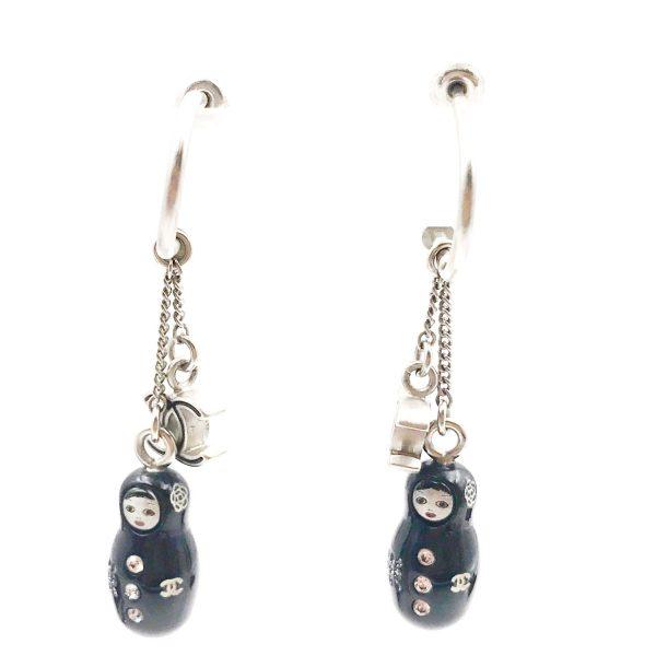 3dd726df4a8e15 Chanel RARE Silver CC Black Russian Doll Hoop Piercing Earrings ...