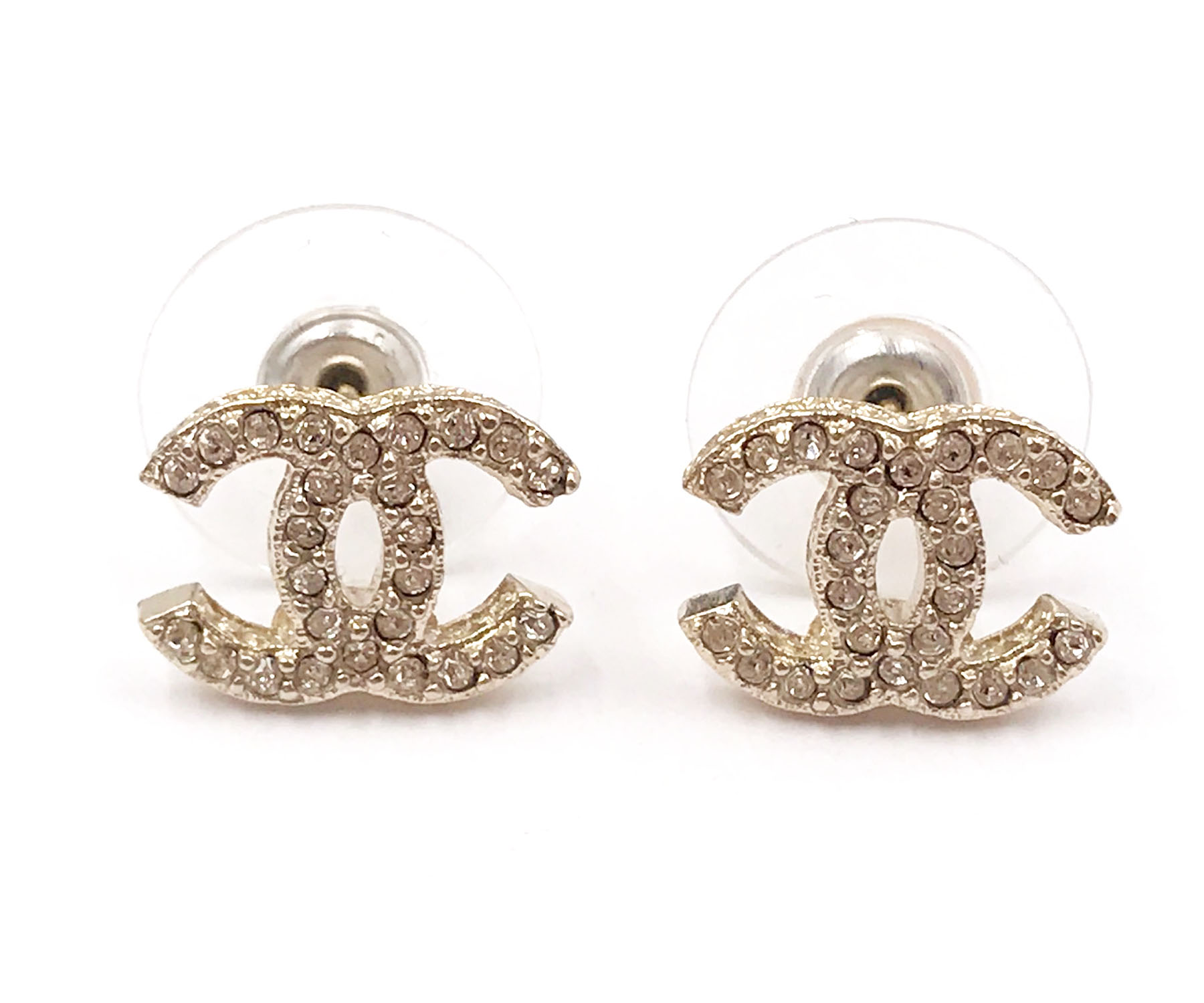 chanel classic gold plated cc crystal piercing earrings