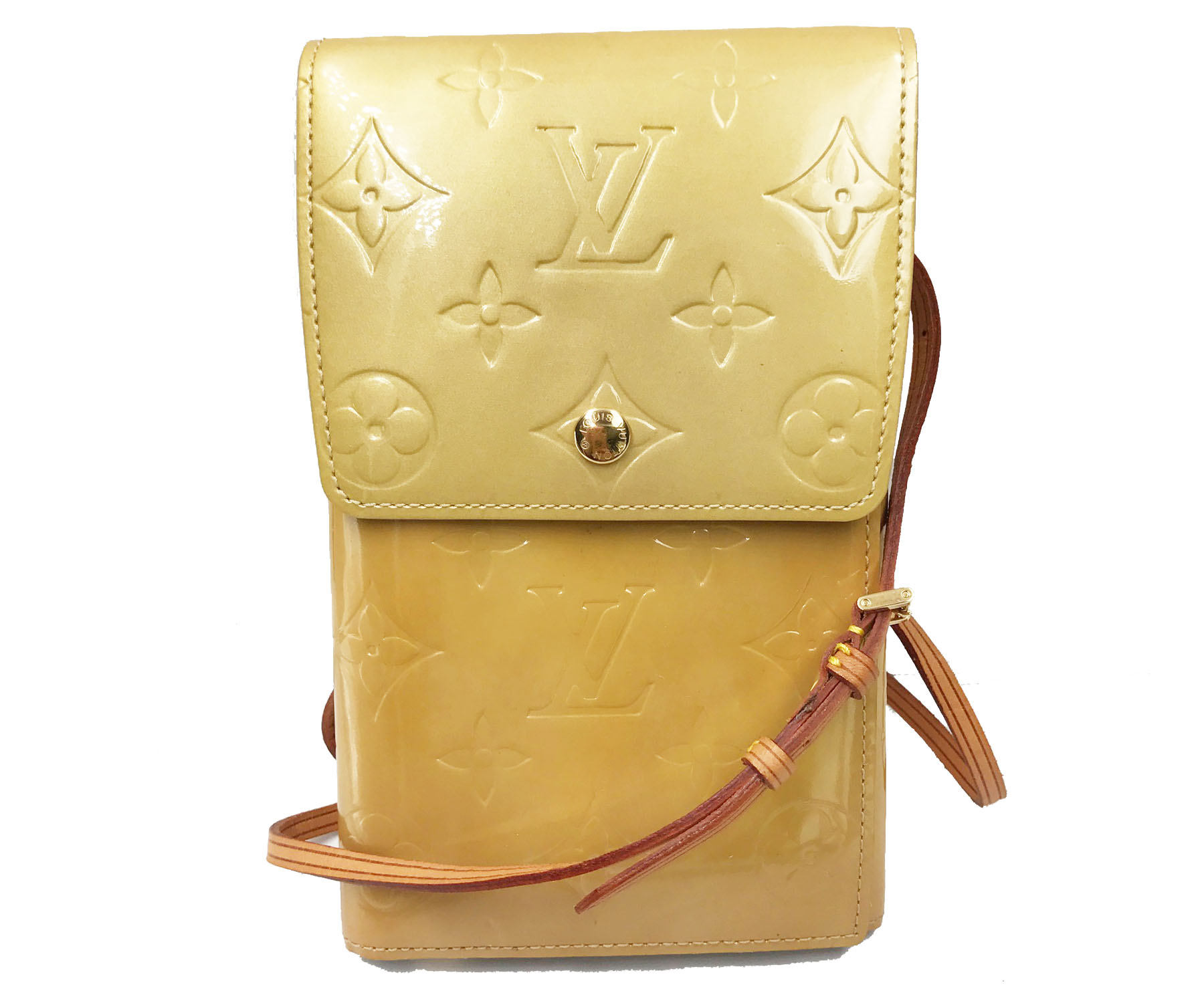 louis vuitton vernis beige passport wallet crossbody bag