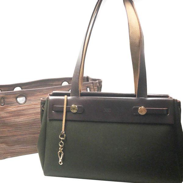 634909792c19 Hermes SUPER RARE Vibrato Leather Olive HerBag 2 in 1 Shoulder Bag Tote.  Hermes Dark Chocolate Brown Clemence Jige GM Large ClutchChanel Vintage ...