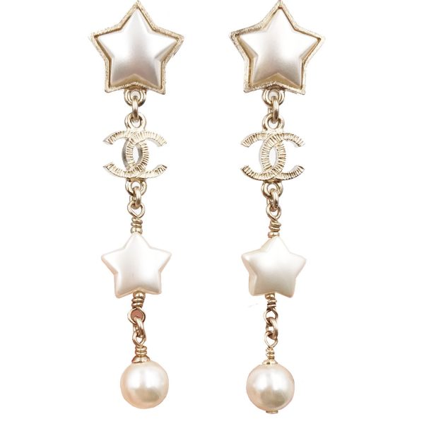 Louis Vuitton Made In France >> Chanel Brand New 17 Gold Star Faux Pearl Long Piercing ...