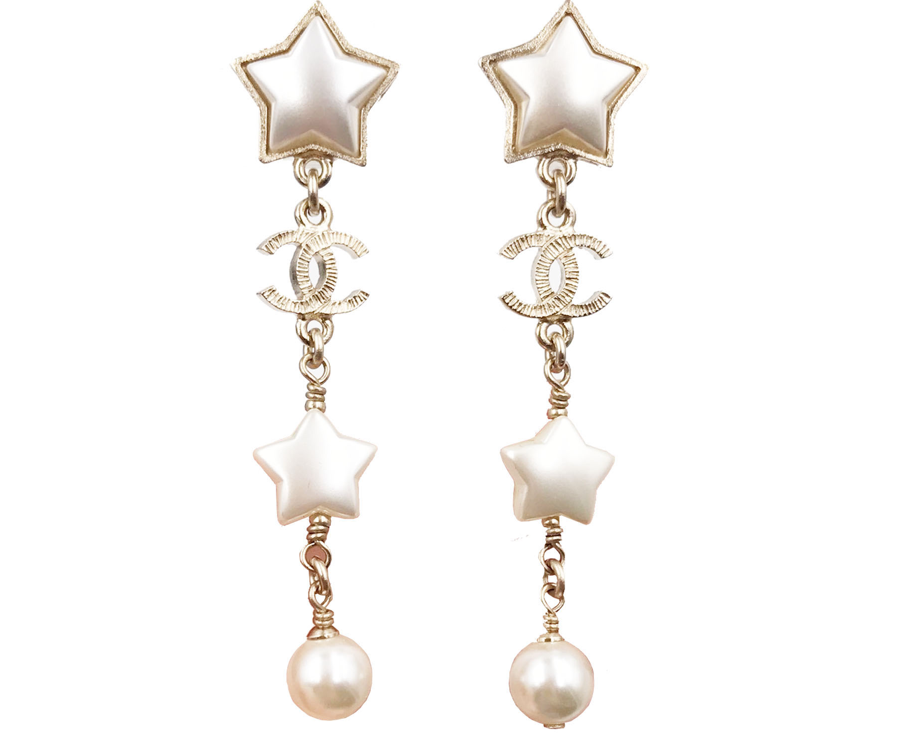 Chanel Brand New 17 Gold Star Faux Pearl Long Piercing