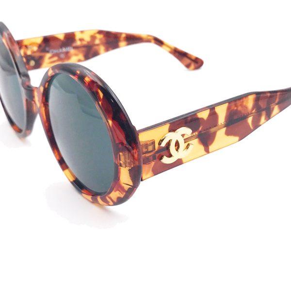 c40786436b8 Chanel Vintage Brown Fuax Tortoise Frame Black Len Sunglasses - LAR ...
