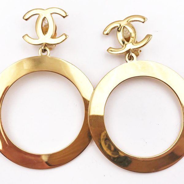 Chanel Gold Plated Cc Hoop Large Clip On Earrings As Seen Gigi Hadid