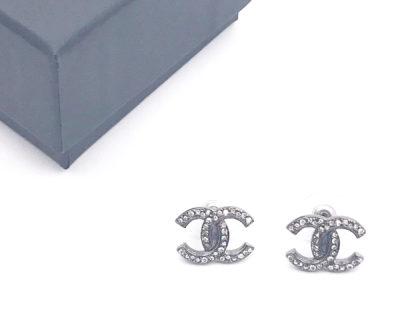 8bb264f47706d6 Chanel Gunmetal CC Crystal Piercing Earrings