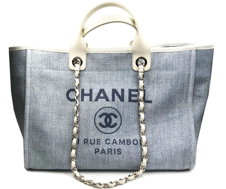 Chanel Light Blue Deauville Large Tote Bag Lar Vintage