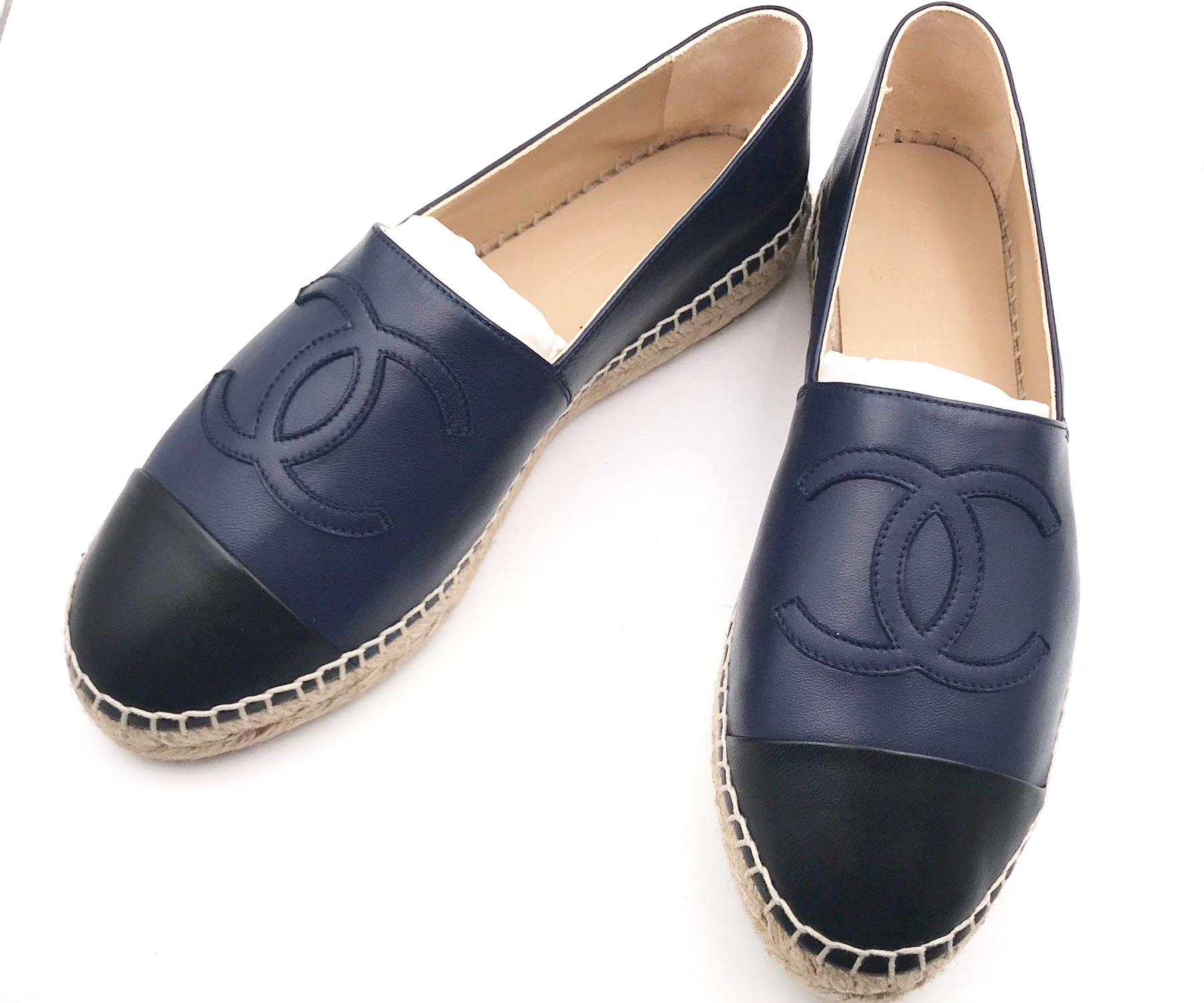 Chanel Brand New Navy Black Leather Espadrilles Flats