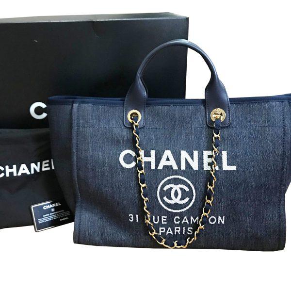 3b86bc492467 Chanel Blue Denim Deauville Large Tote Bag As Seen on Rihanna and Miranda  Kerr