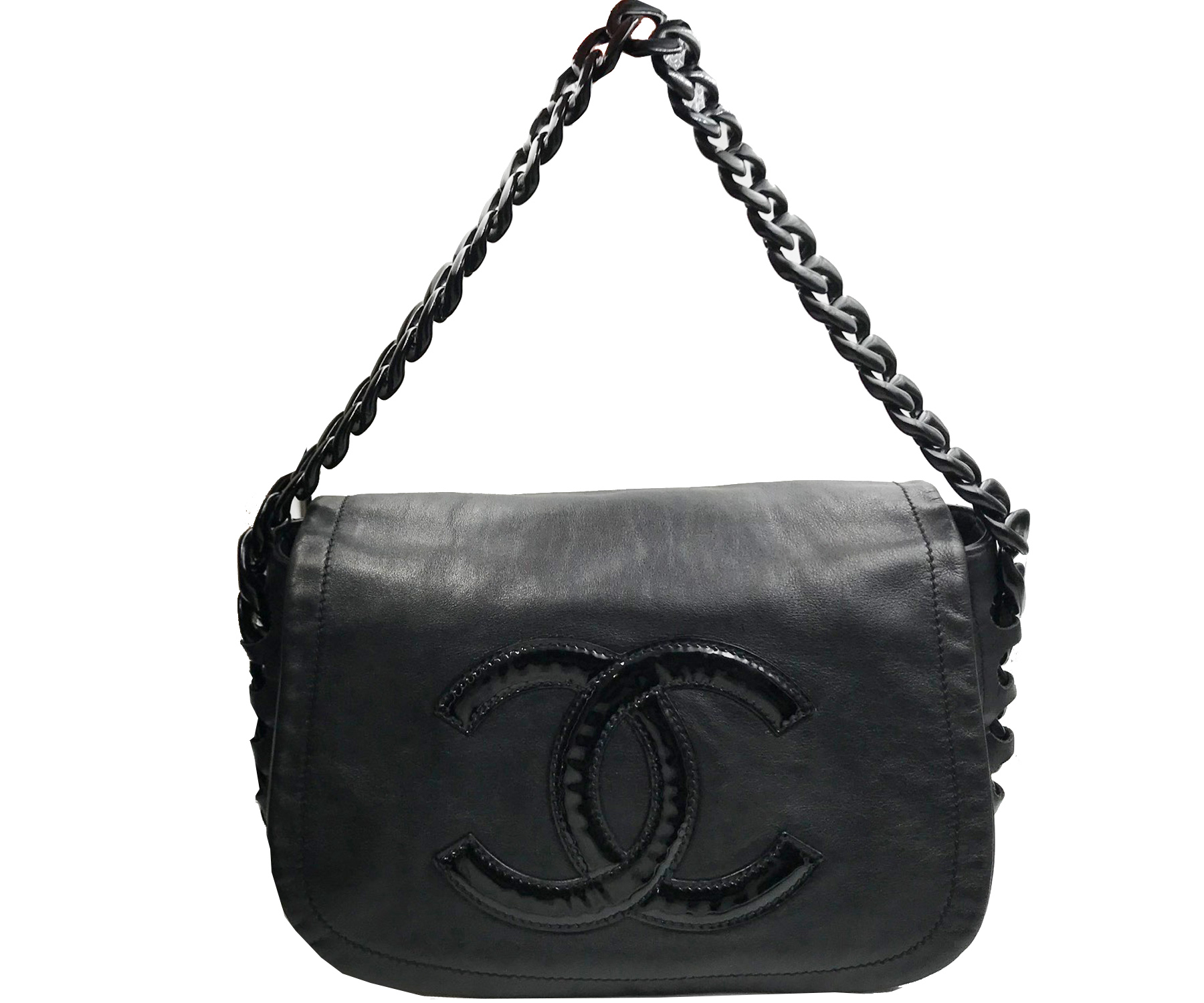 22e7280b662c Chanel Black Modern Chain Rhodoid Flap Shoulder Bag - LAR Vintage. CHANEL  Black Camellia Chocolate Bar ...