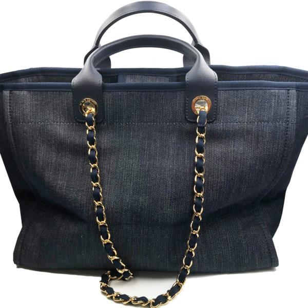 44ea8dc6625f Chanel Blue Denim Deauville Large Tote Bag - LAR Vintage