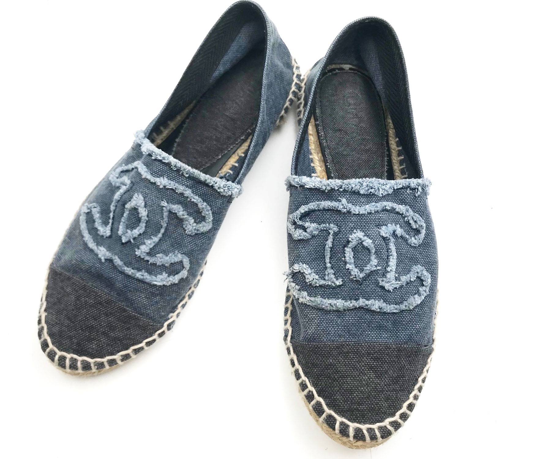 Chanel Navy Light Blue Denim Espadrilles Flat 36 Lar Vintage