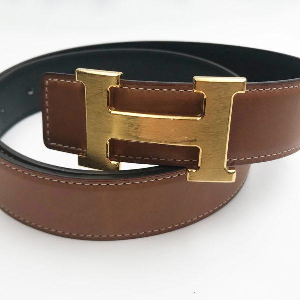 c3029b7731 Hermes Constance 32mm Black Brown Reversible Gold H Bucket Belt 80cm ...