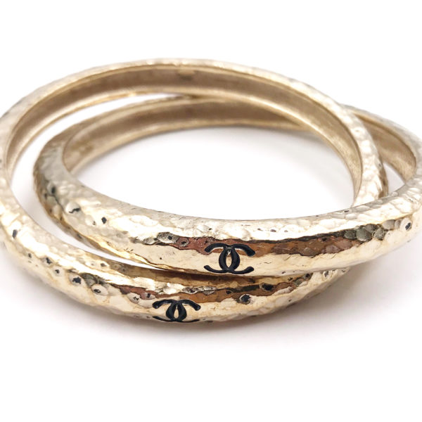 Chanel Black Cc Light Gold Textured 2 Bangles Bracelet
