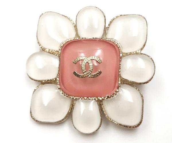 Chanel Gold Cc White Pink Enamel Brooch Lar Vintage