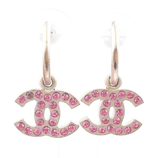 Chanel Gold Cc Pink Crystal Hoop Piercing Earrings