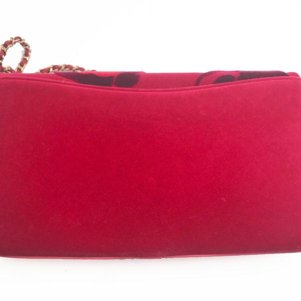 27e580c70dd2 Chanel Brand New Red Camellia Velvet Clutch Crossbody Bag - LAR Vintage