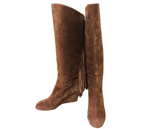 outlet store ac328 f9534 Christian Louboutin Brown Suede Tassel Boots