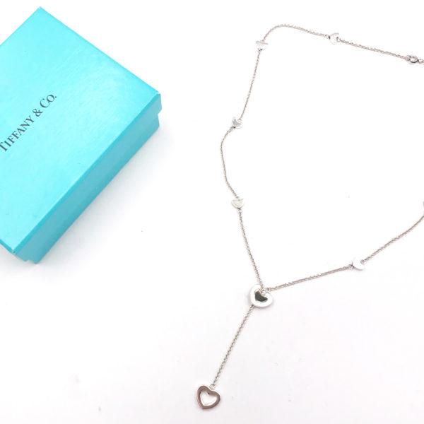 da30a80c0 Tiffany & Co Vintage 925 Silver Heart Lariat Necklace - LAR Vintage