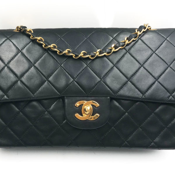 c89fafaeeefa Chanel Vintage 24K Gold Plated Black Timeless 10″ Double Flap 2.55 Shoulder  Bag 145