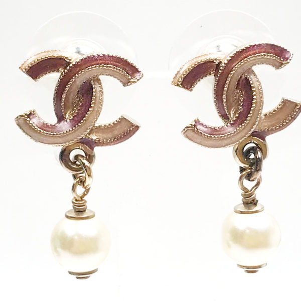 Chanel Light Gold Cc Pink Enamel Faux Pearl Piercing