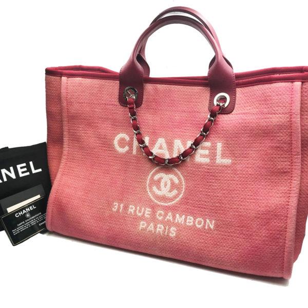 f6b5ab8065b2 Chanel Red Denim Deauville Large Tote Bag - LAR Vintage