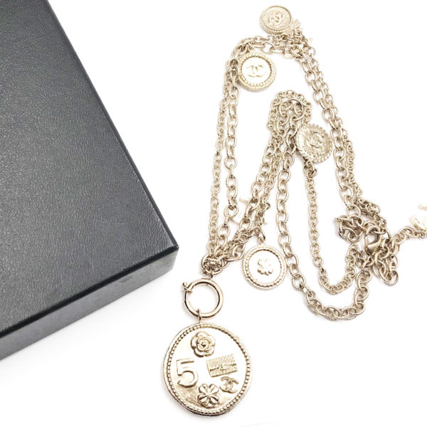 Chanel light gold 100 year coin pendants 2 chain necklace lar vintage chanel light gold 100 year coin pendants 2 chain necklace aloadofball Choice Image