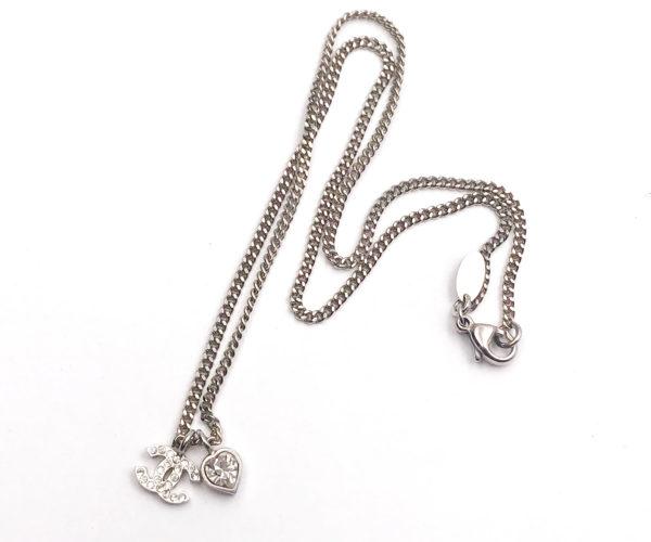 Chanel silver cc heart crystal pendant necklace lar vintage chanel silver cc heart crystal pendant necklace aloadofball Gallery