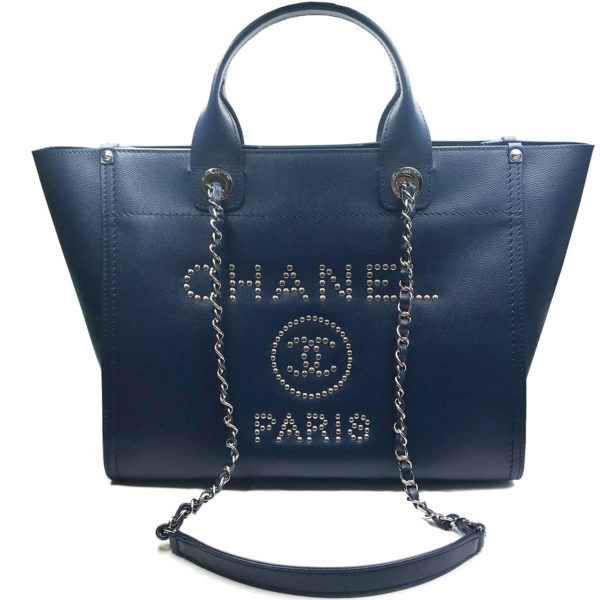 db45911d4eff71 Chanel Brand New Silver Stud Navy Caviar Deauville Tote Bag - LAR ...