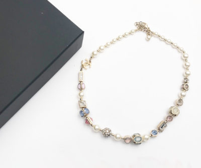 955926c2d8ceb1 Chanel Pastel Crystal Faux Pearl Light Gold Necklace