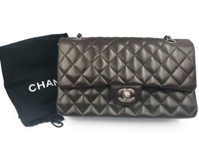56c1aa170e30 Chanel Espresso Brown Lambskin Timeless 10″ Double Flap Shoulder Bag 1029