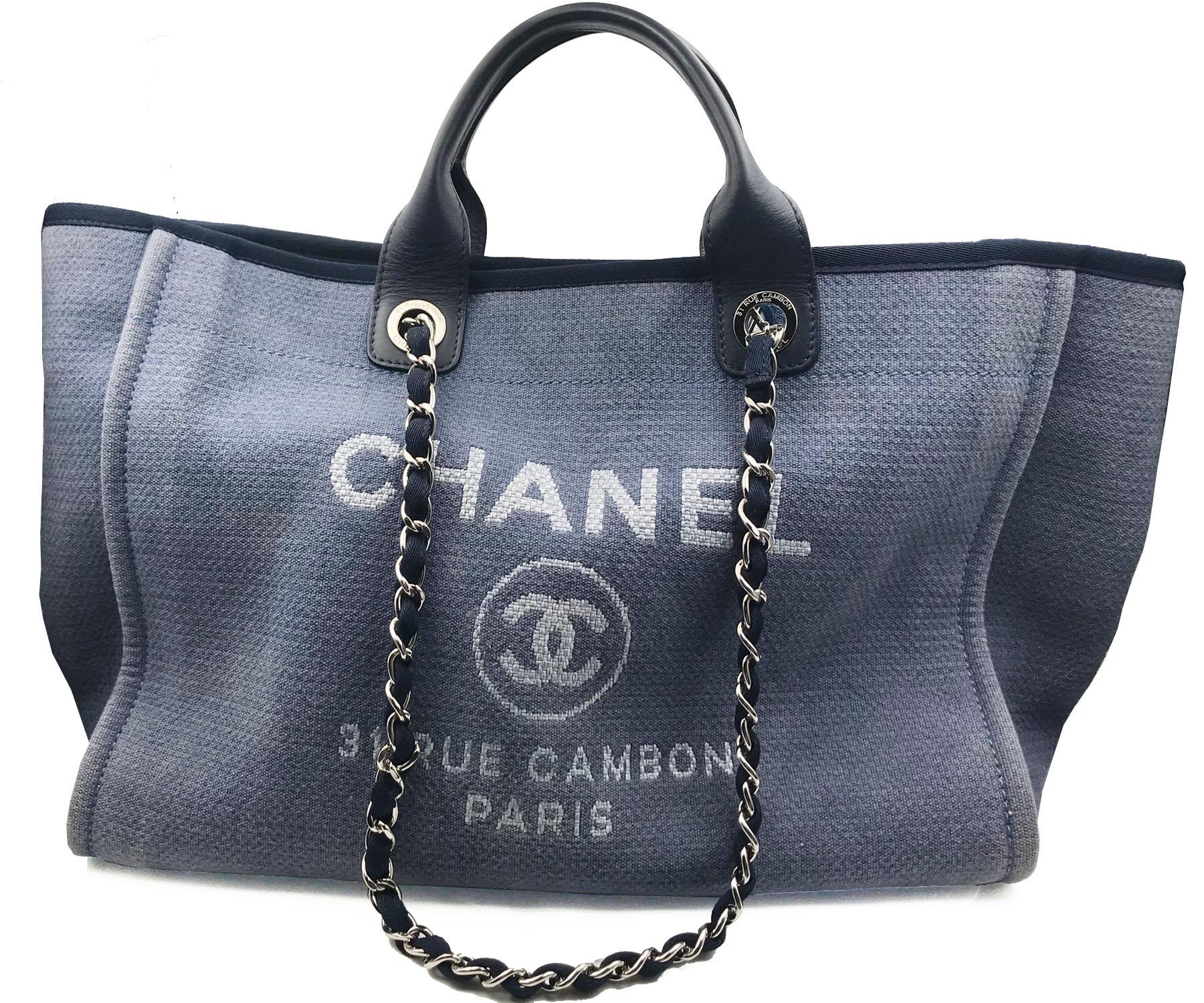 Chanel Blue Cloth Deauville Large Tote Bag Lar Vintage