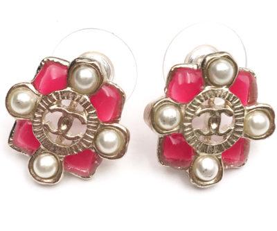 Chanel Light Gold CC Ribbon Bow Rhinestone Piercing Earrings