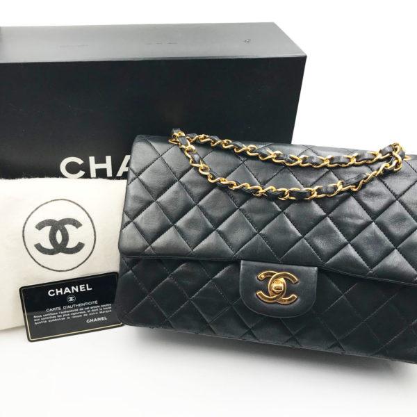 56a725b8e096b0 Chanel Classic Black Lambskin Timeless 10″ Double Flap Shoulder Bag 151