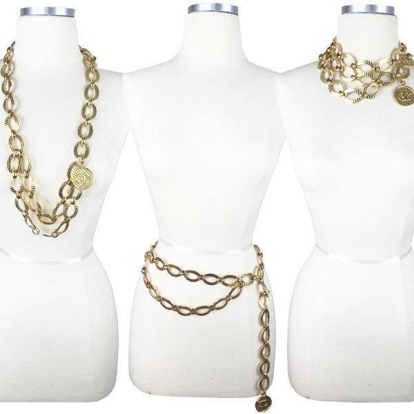 aa44388d2d26 Chanel Vintage Gold Plated CC Chain Medallion Dangle Necklace Belt ...