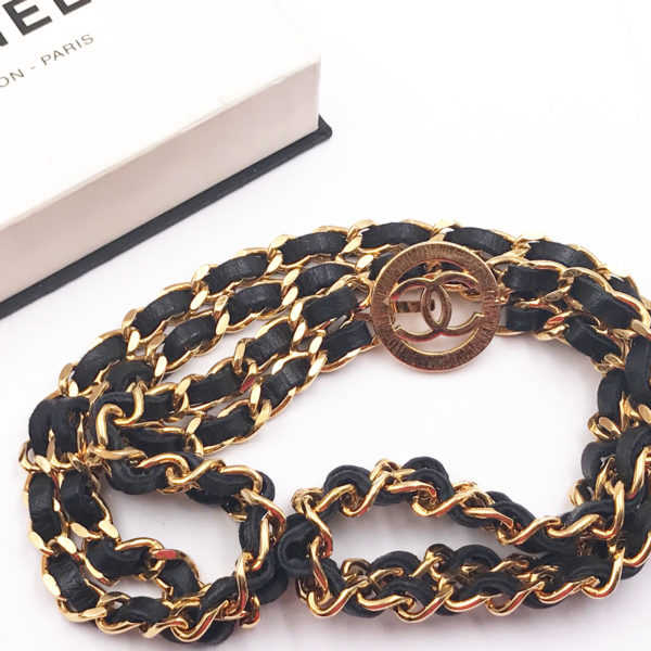 055c14cf8ac3 Chanel Vintage Gold Plated CC Medallion Double Leather Weave Chain Necklace  Belt