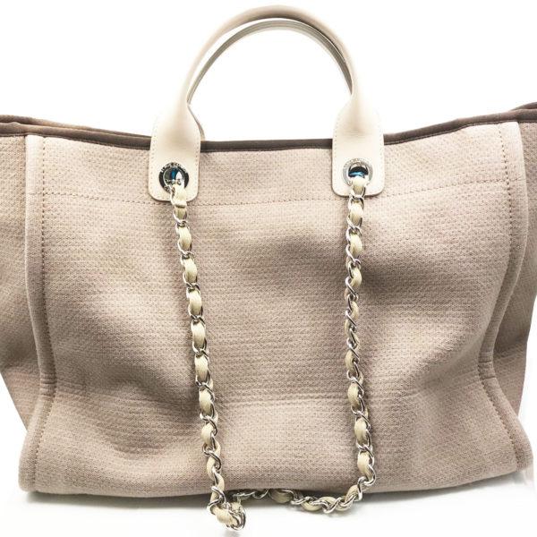 c9ee7c55c Chanel Light Brown Leather Cloth Deauville Large Tote Bag - LAR Vintage