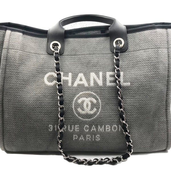 0d9f195a2 Chanel Black Leather Grey Cloth Deauville Large Tote Bag 1609 - LAR ...