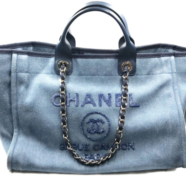 6bee33293666 Chanel Blue Leather Blue Cloth Sequin Deauville Large Tote Bag 2384 ...