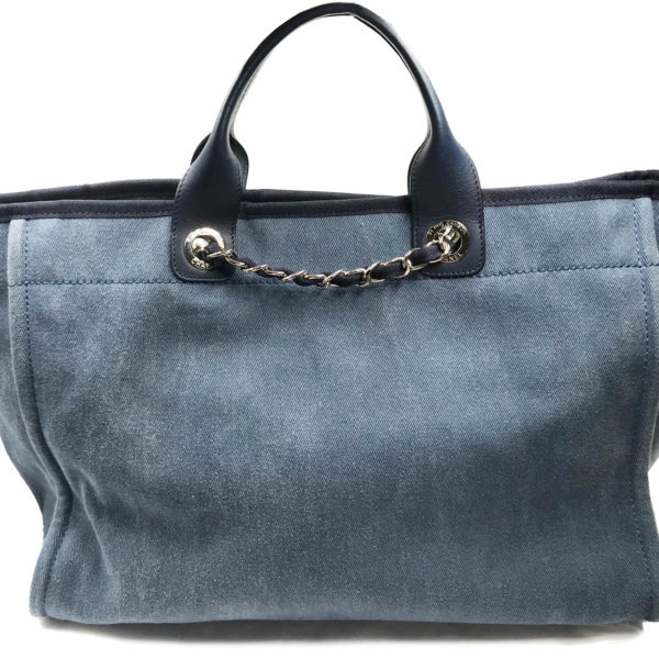 7f022342c Chanel Blue Leather Blue Cloth Sequin Deauville Large Tote Bag 2384 ...