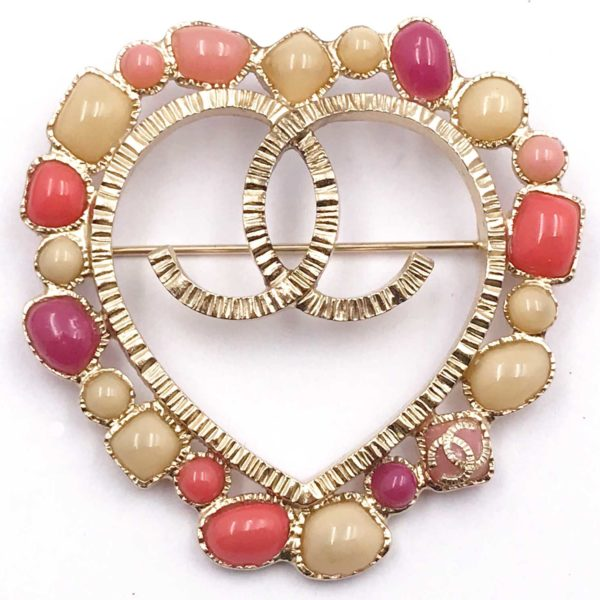 f5329bf6919 Chanel Rare Gold CC Pink Red Stone Heart Brooch - LAR Vintage